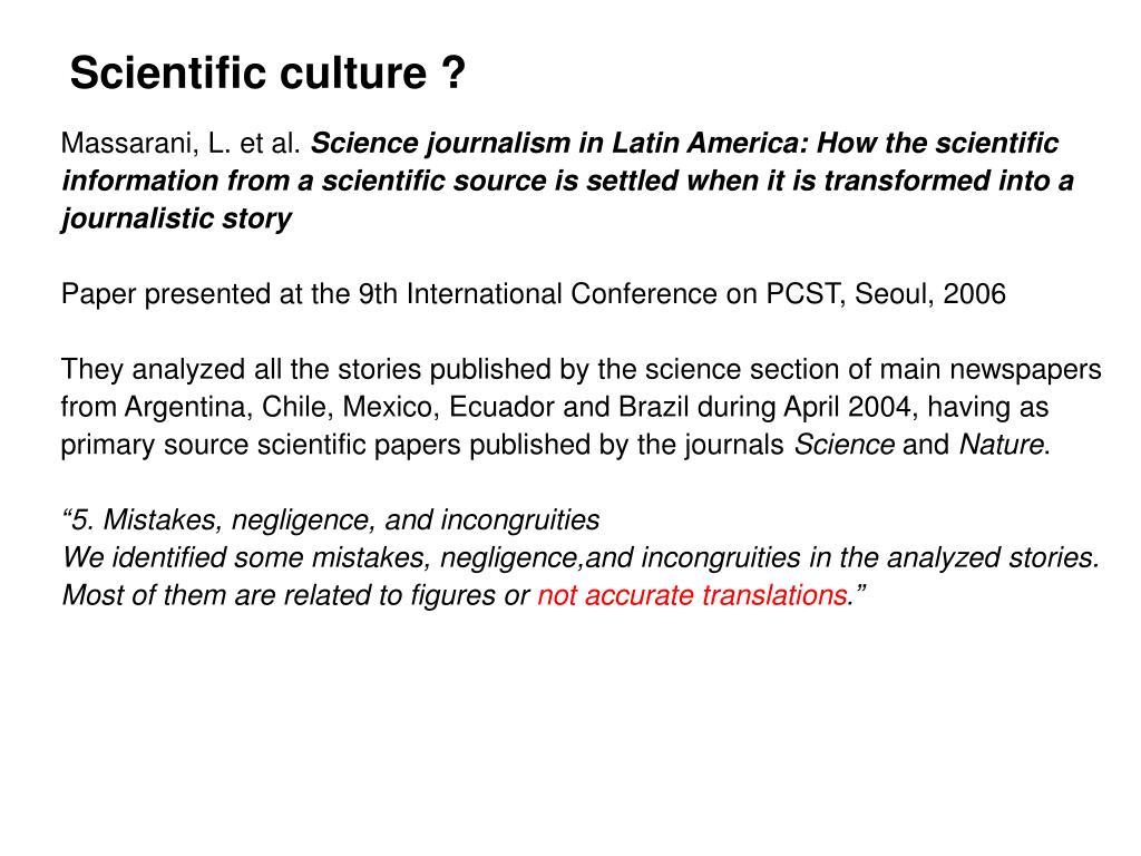 Scientific culture ?