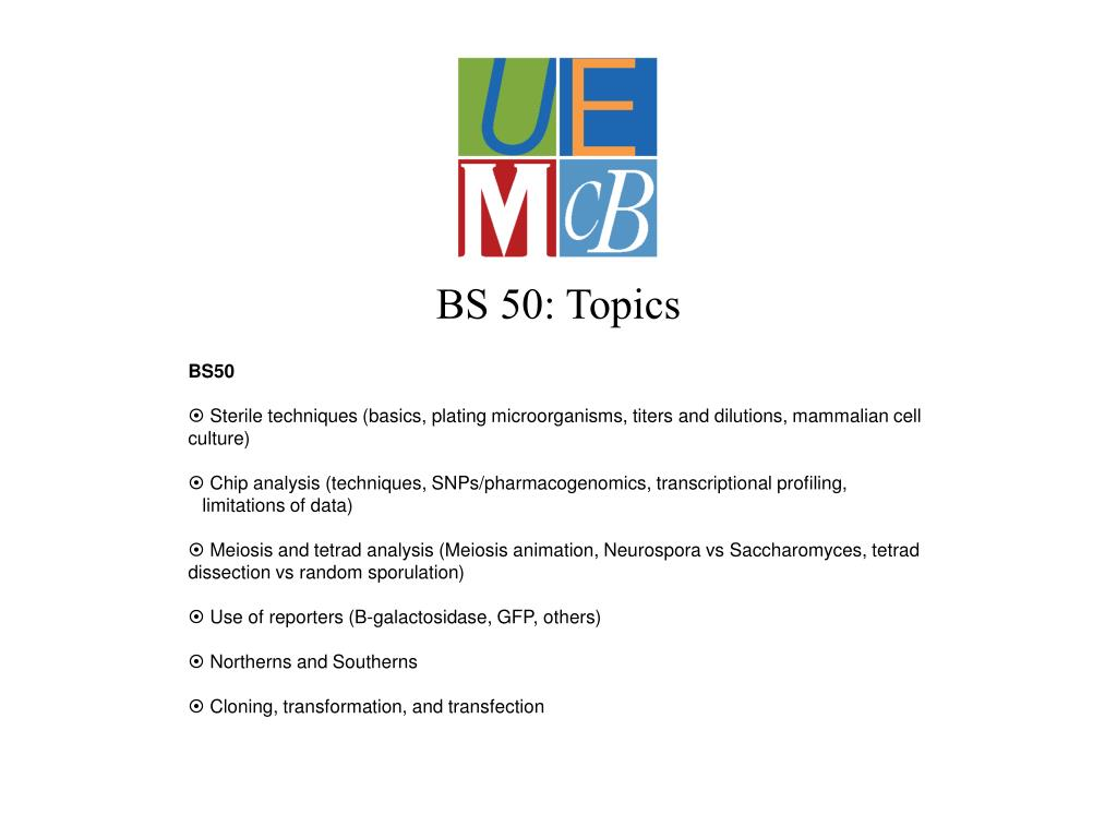 BS 50: Topics