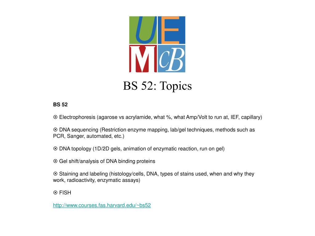 BS 52: Topics