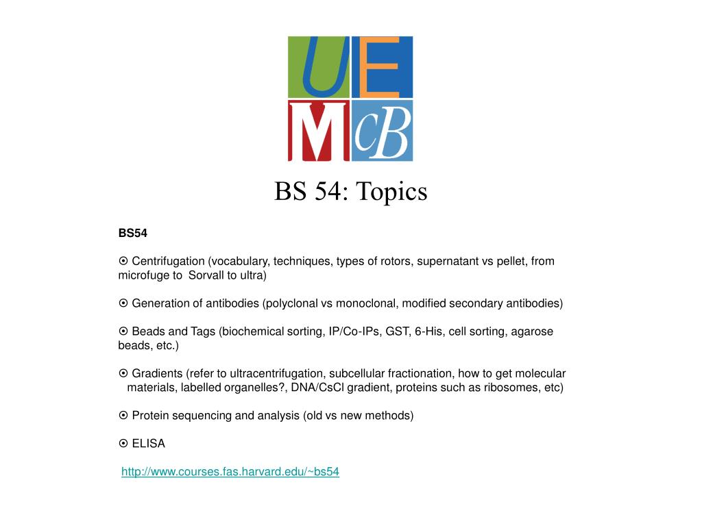 BS 54: Topics