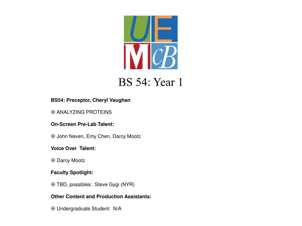 BS 54: Year 1