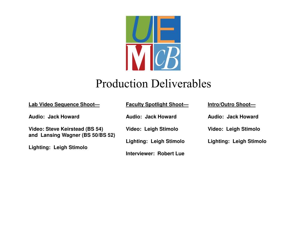 Production Deliverables