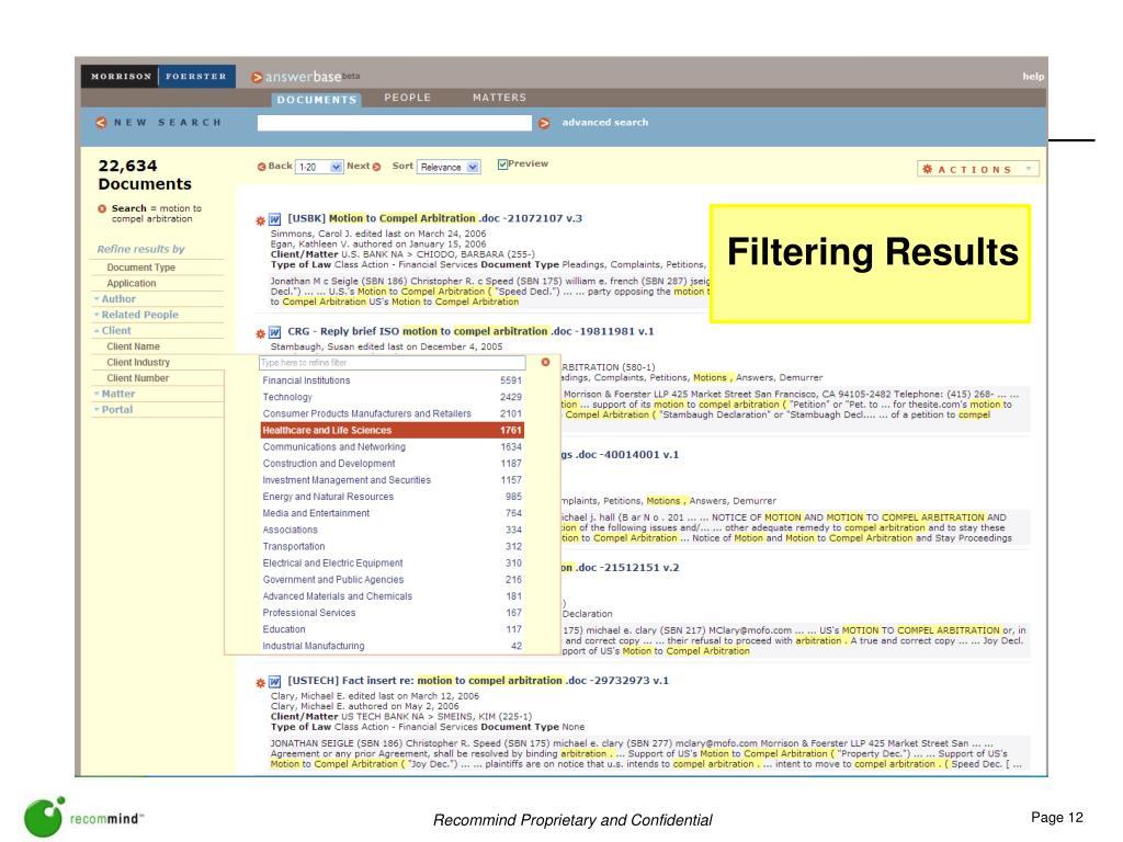 Filtering Results