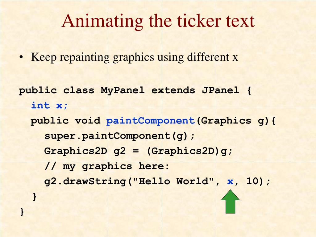 Animating the ticker text
