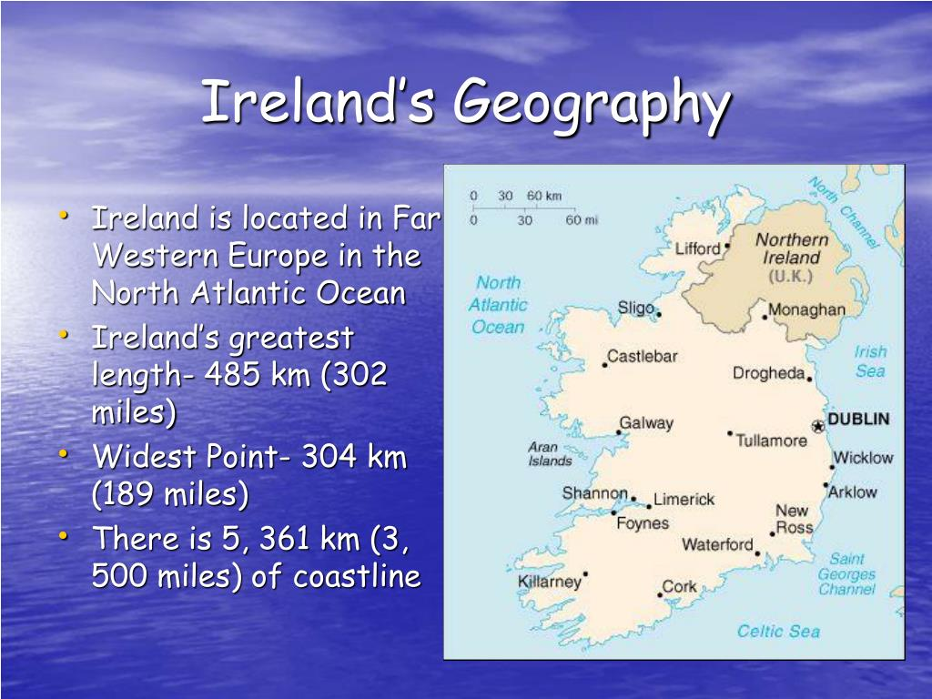 a geography of ireland Ireland is an island in northwest europe in the north atlantic ocean whose main geographical features include low central plains surrounded by a ring of coastal mountains the highest peak is carrauntoohil (irish: corrán tuathail), which is 1,041 metres (3,415 ft) above sea level.