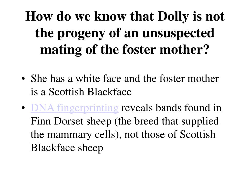 How do we know that Dolly is not the progeny of an unsuspected mating of the foster mother?