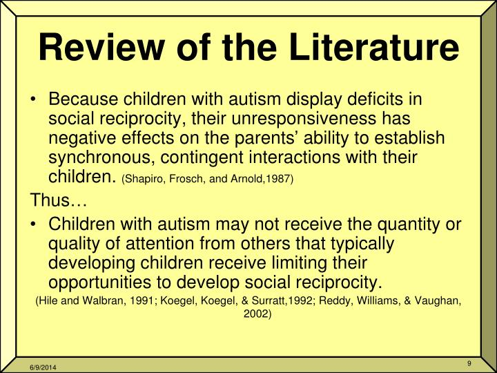 Literature review children autism