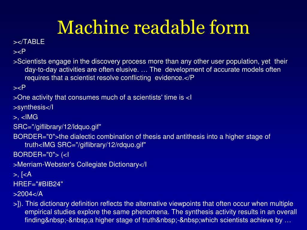 Machine readable form