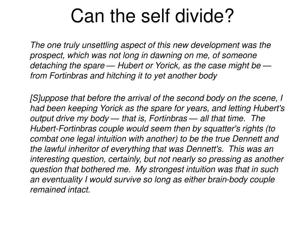 Can the self divide?