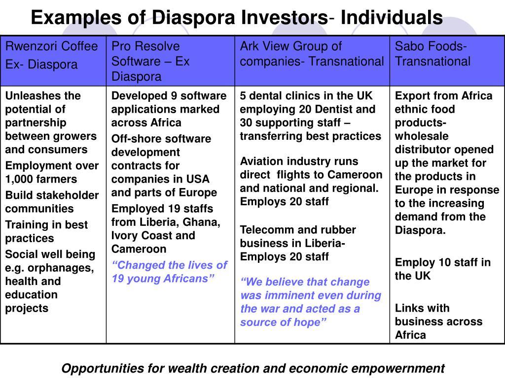 Examples of Diaspora Investors