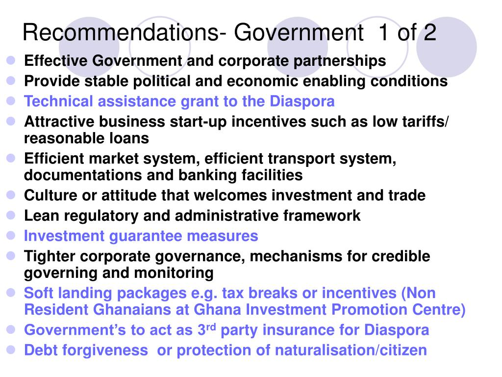Recommendations- Government  1 of 2