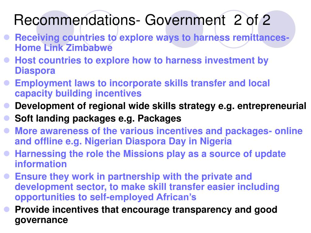 Recommendations- Government  2 of 2