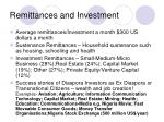 remittances and investment