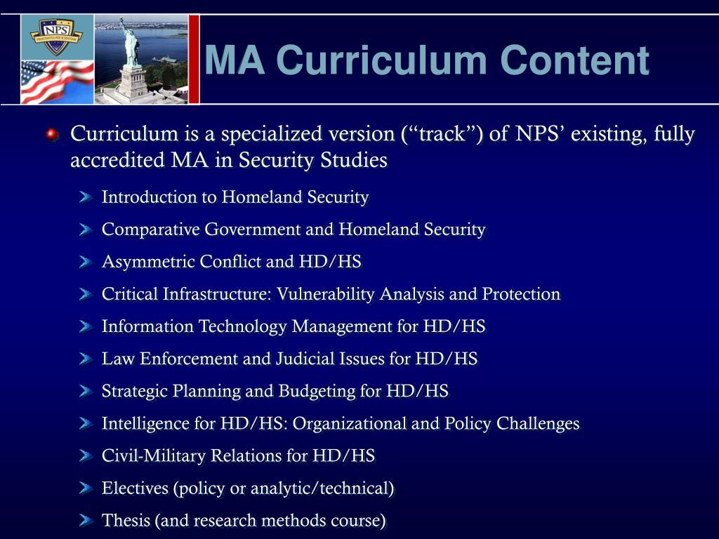 MA Curriculum Content