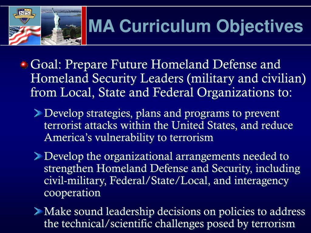 MA Curriculum Objectives