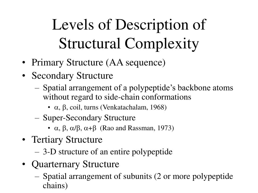 Levels of Description of Structural Complexity