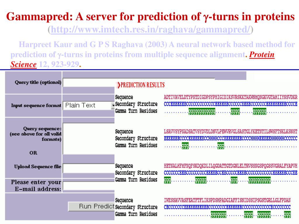 Gammapred: A server for prediction of
