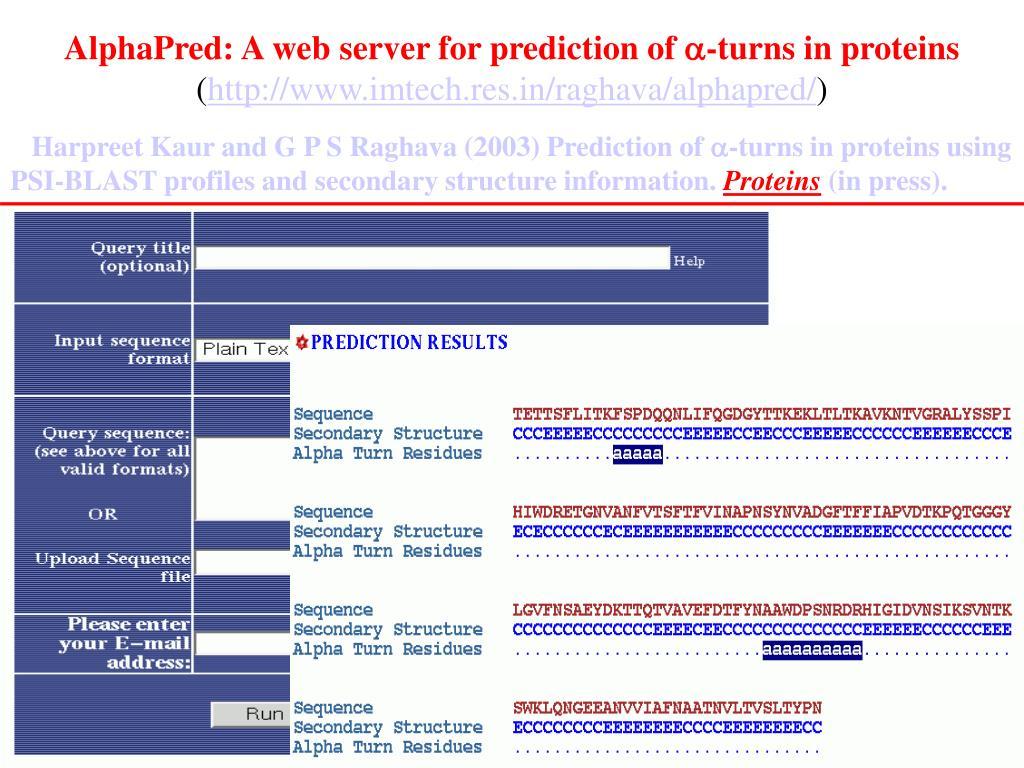 AlphaPred: A web server for prediction of