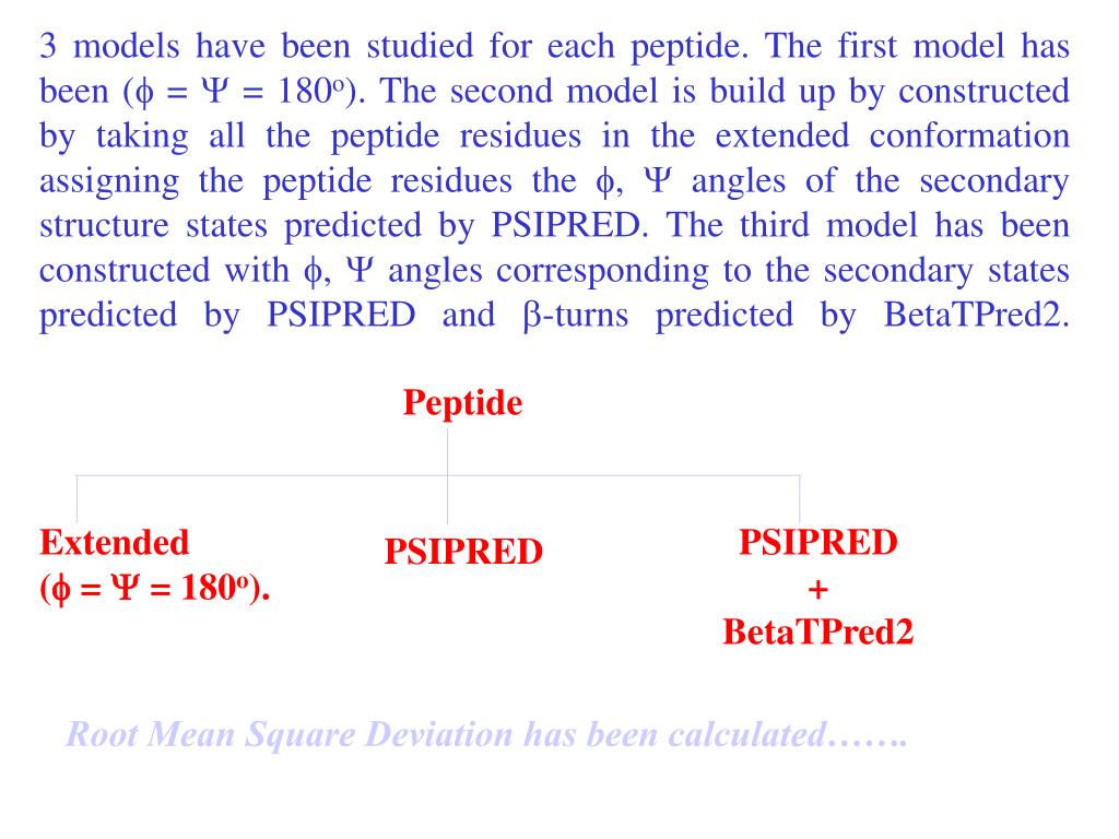 3 models have been studied for each peptide. The first model has been (