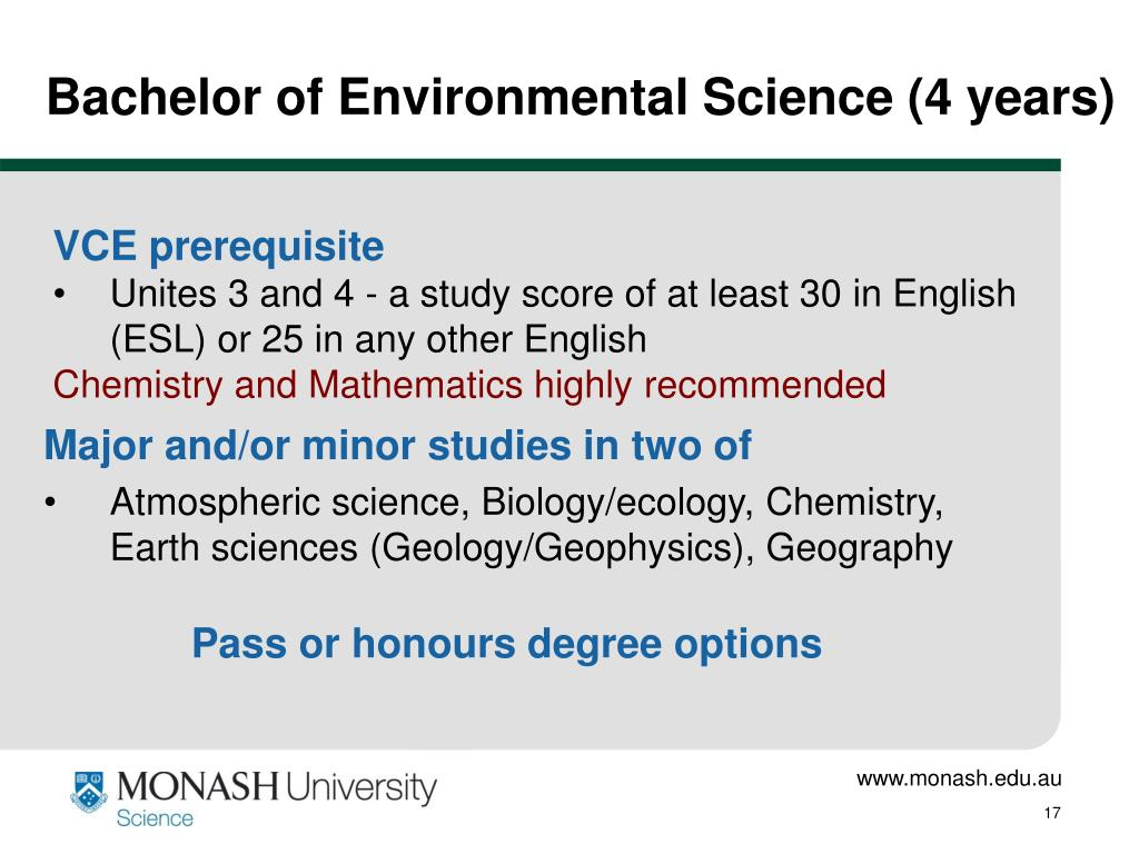 Bachelor of Environmental Science (4 years)