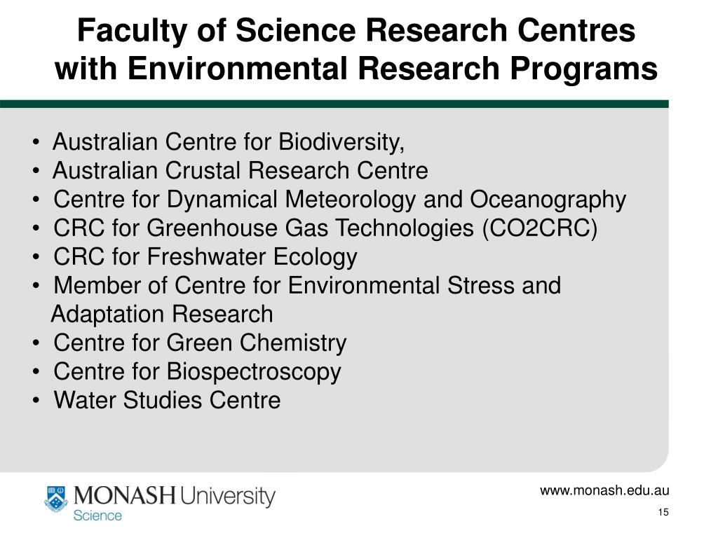 Faculty of Science Research Centres with Environmental Research Programs
