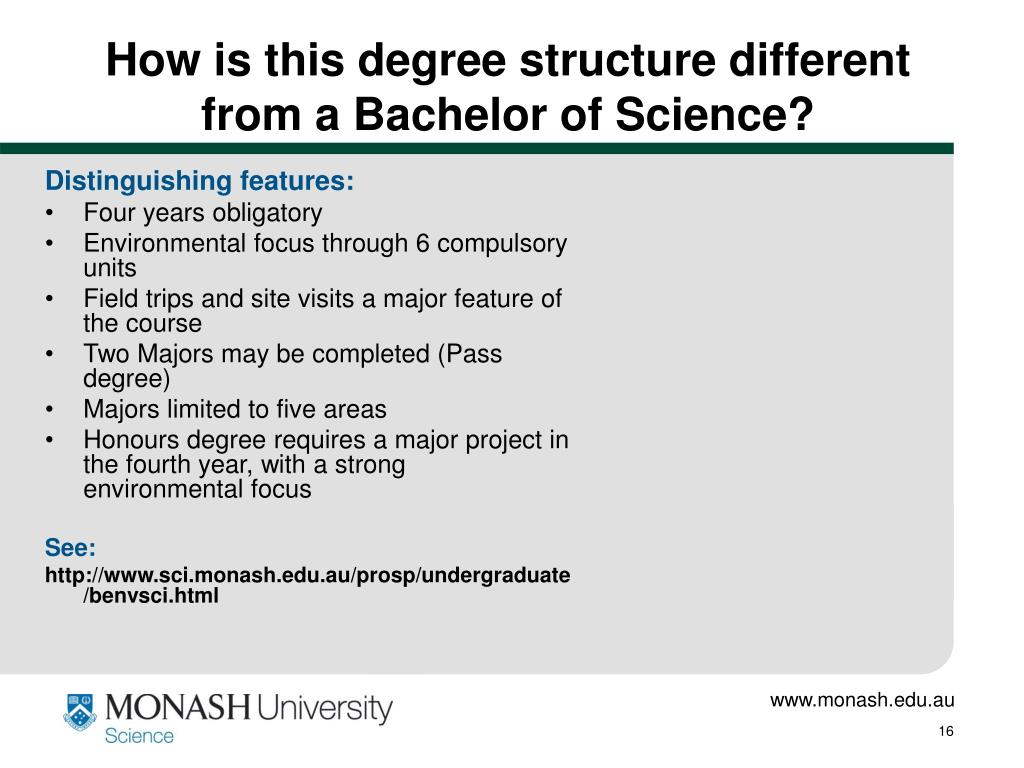 How is this degree structure different from a Bachelor of Science?