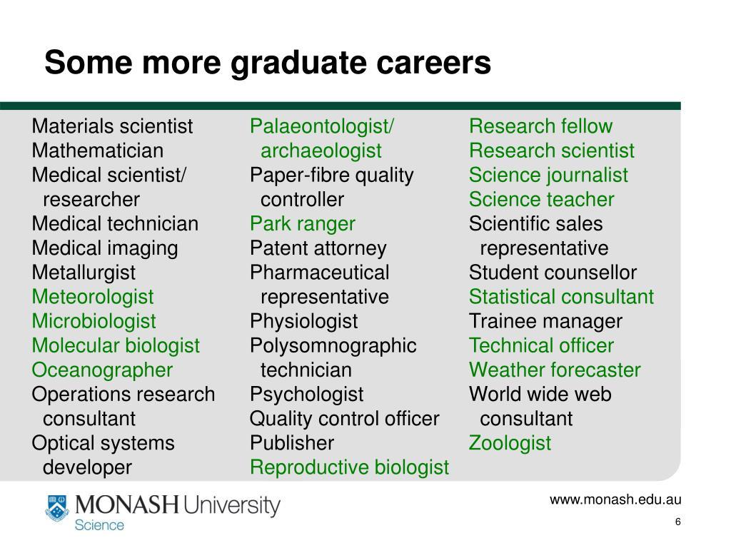 Some more graduate careers