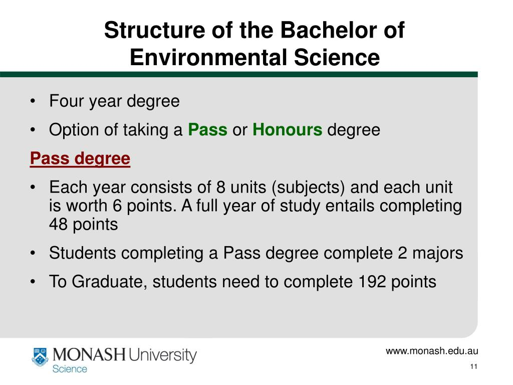 Structure of the Bachelor of Environmental Science