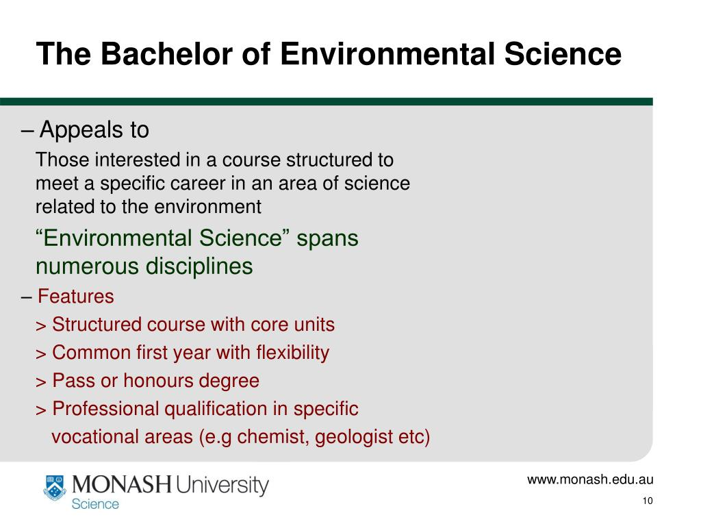 The Bachelor of Environmental Science