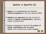 quality vs quantity i