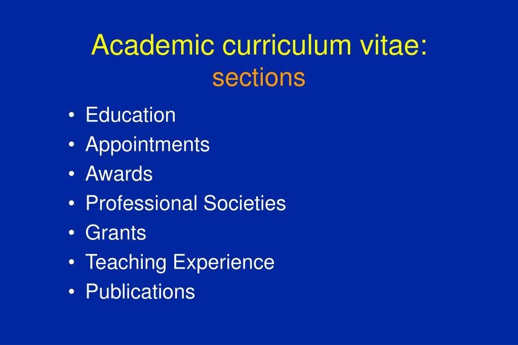 Academic curriculum vitae: