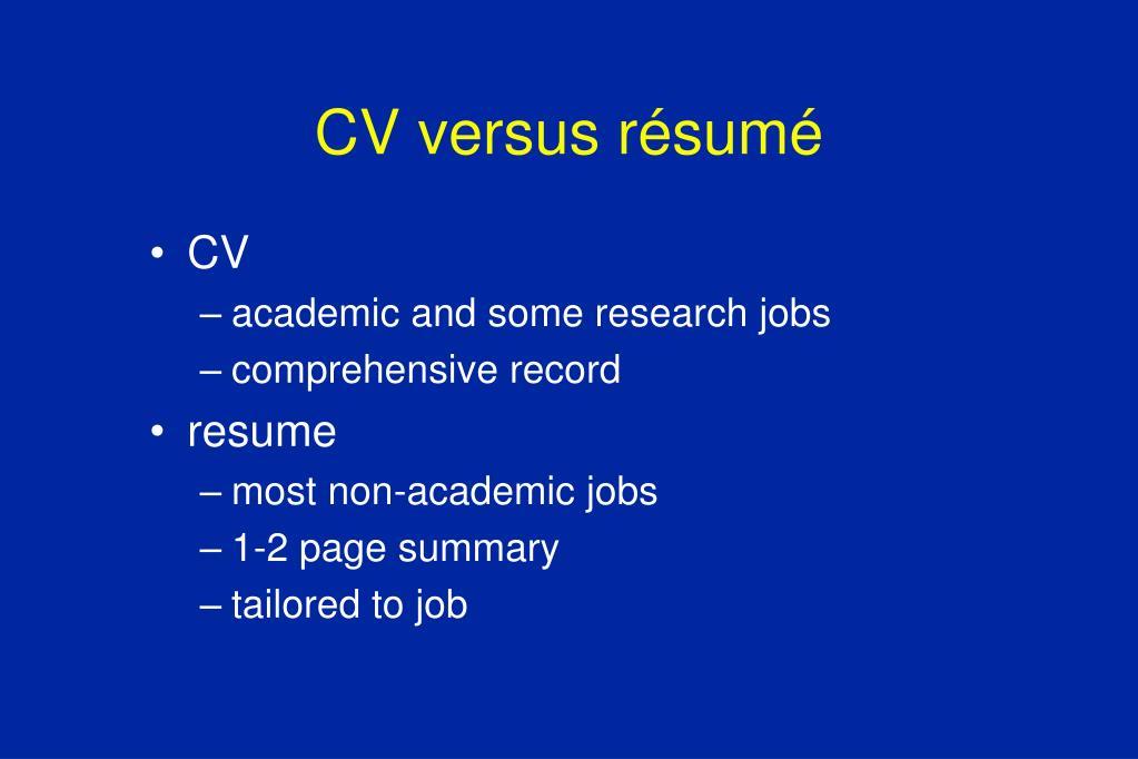 CV versus résumé