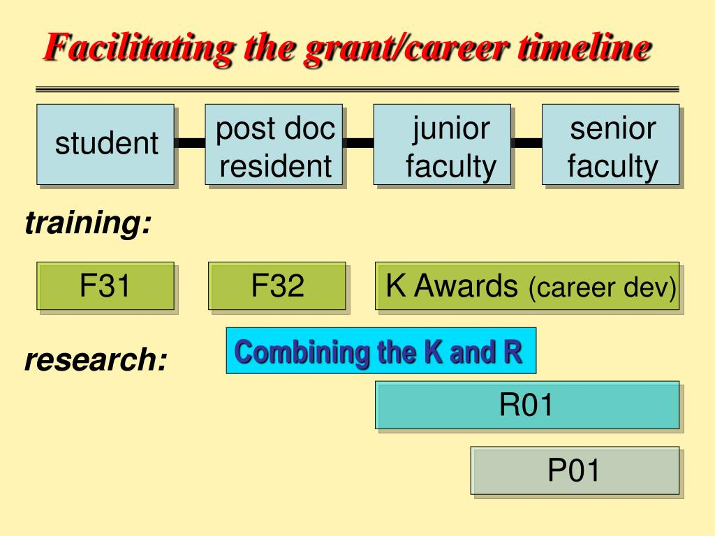 Facilitating the grant/career timeline