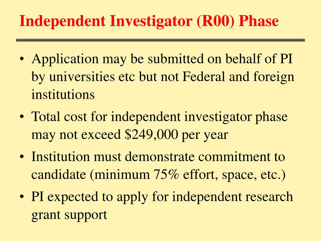 Independent Investigator (R00) Phase
