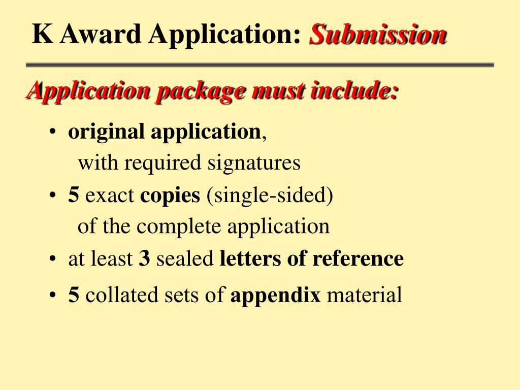 K Award Application: