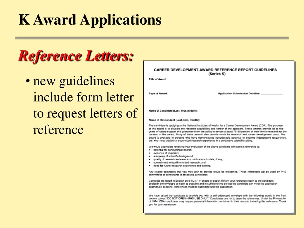 K Award Applications