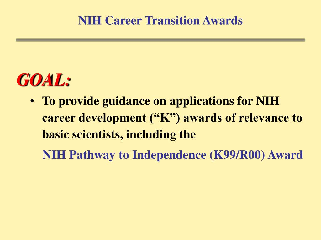 NIH Career Transition Awards