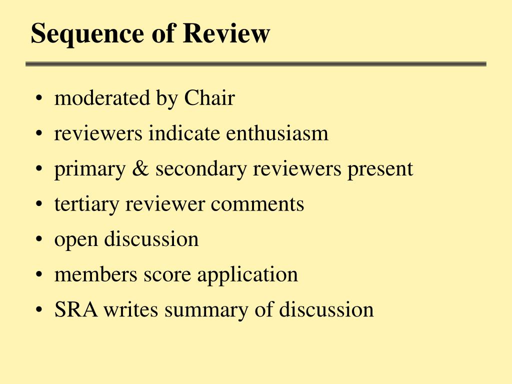 Sequence of Review