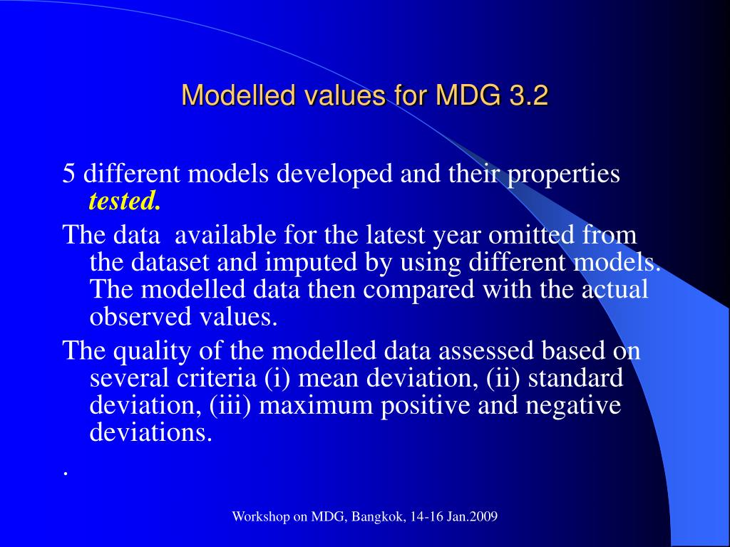 Modelled values for MDG 3.2