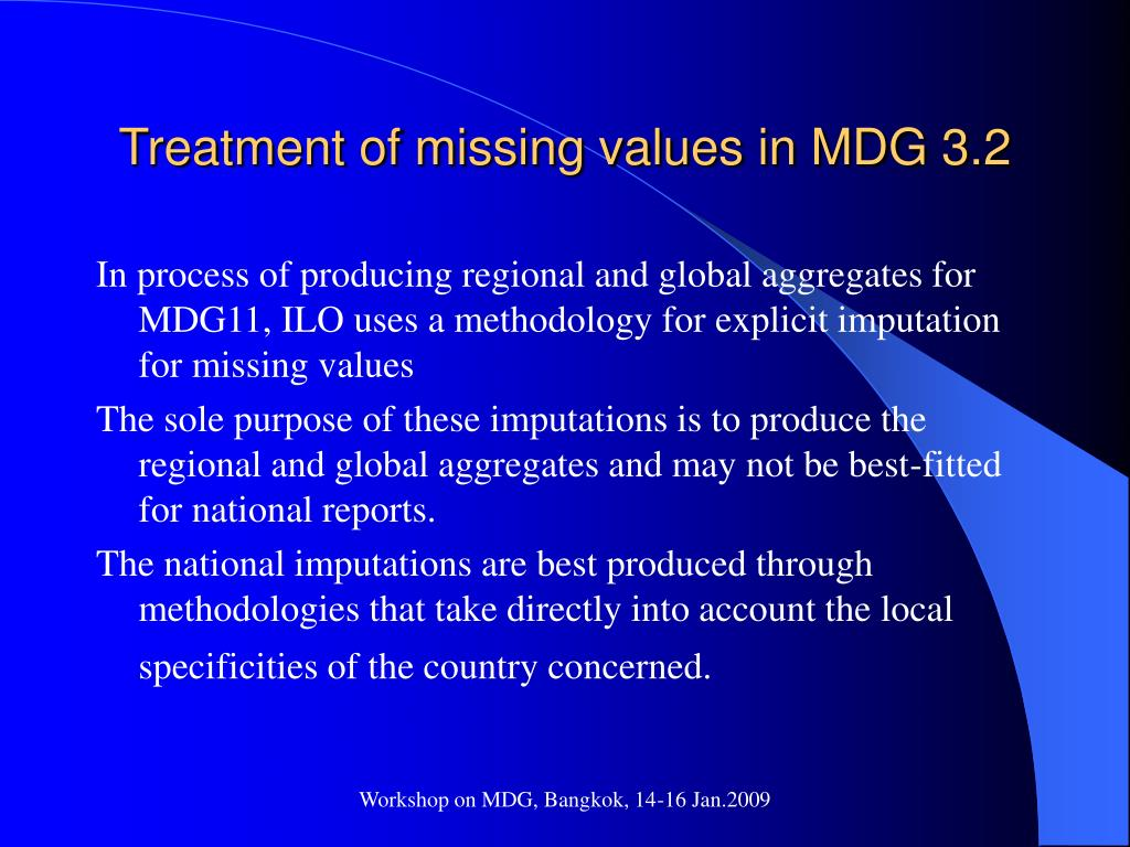 Treatment of missing values in MDG 3.2
