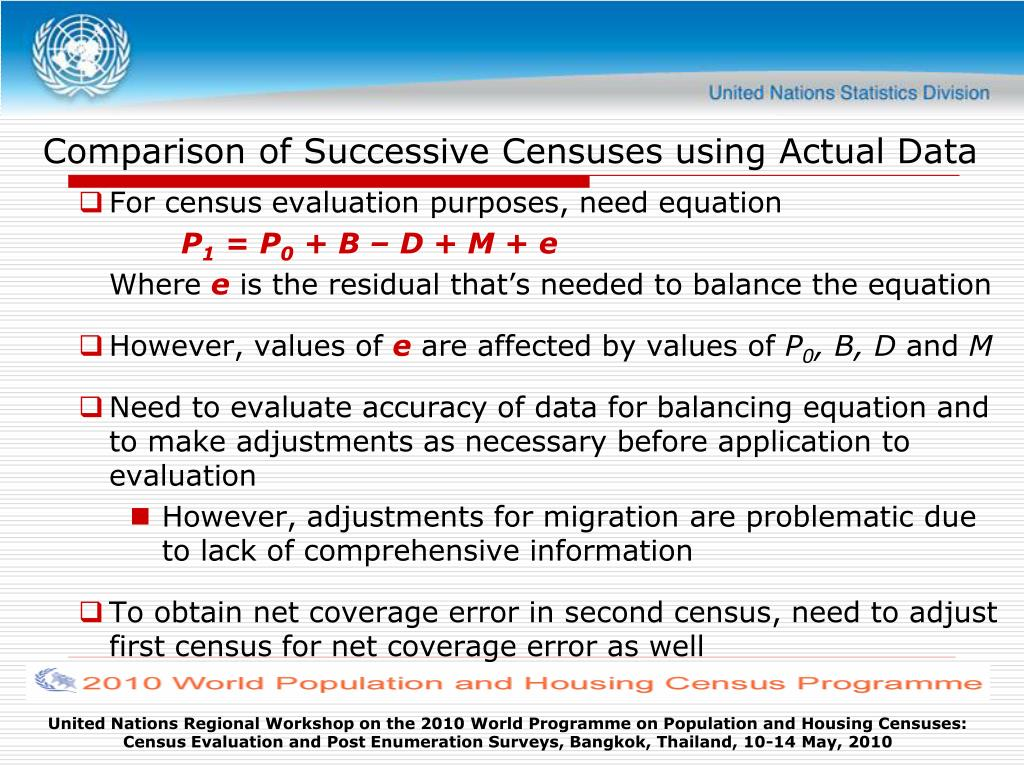 Comparison of Successive Censuses using Actual Data