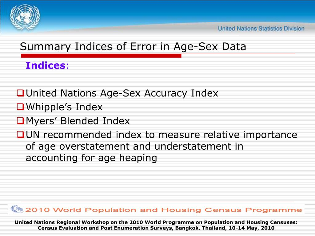 Summary Indices of Error in Age-Sex Data