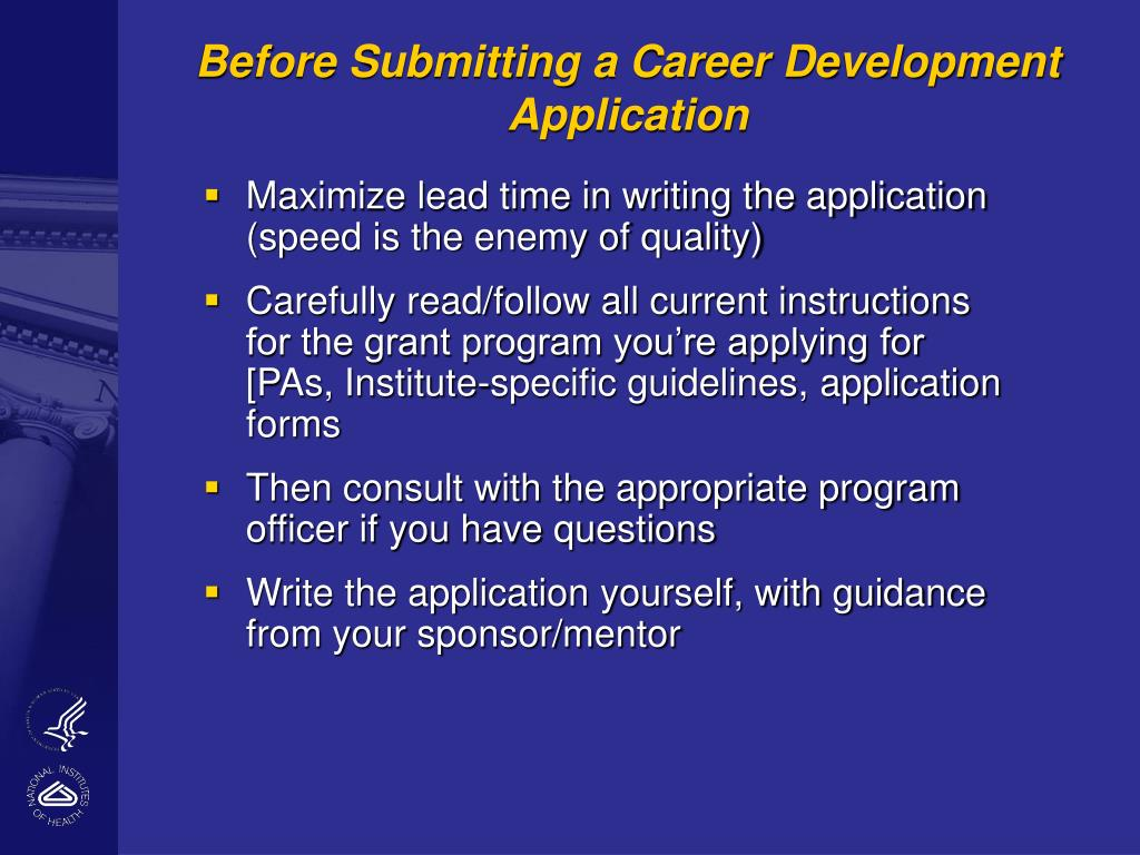 Before Submitting a Career Development Application