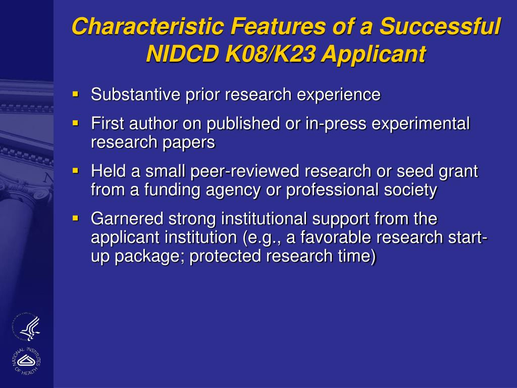 Characteristic Features of a Successful NIDCD K08/K23 Applicant