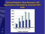 clinical pediatric new renewal lrp applications reviewed awarded nih wide