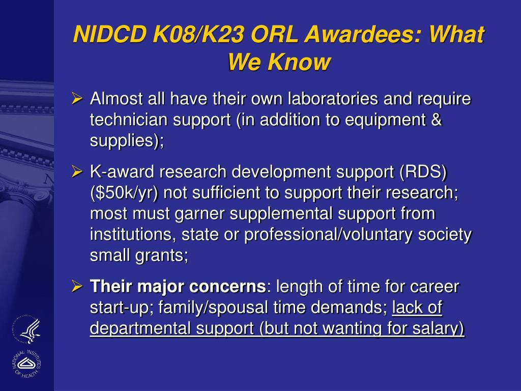 NIDCD K08/K23 ORL Awardees: What We Know