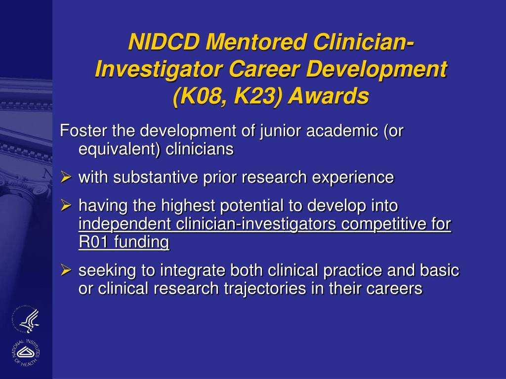 NIDCD Mentored Clinician-Investigator Career Development