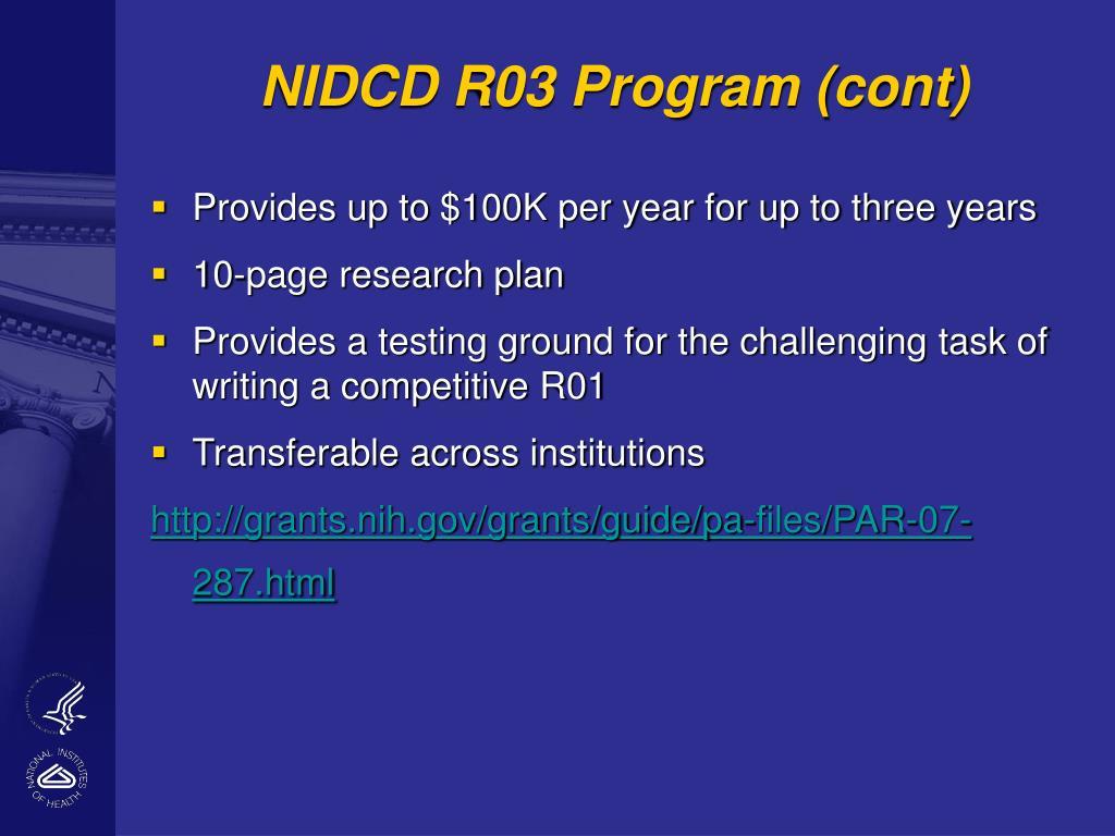 NIDCD R03 Program (cont)