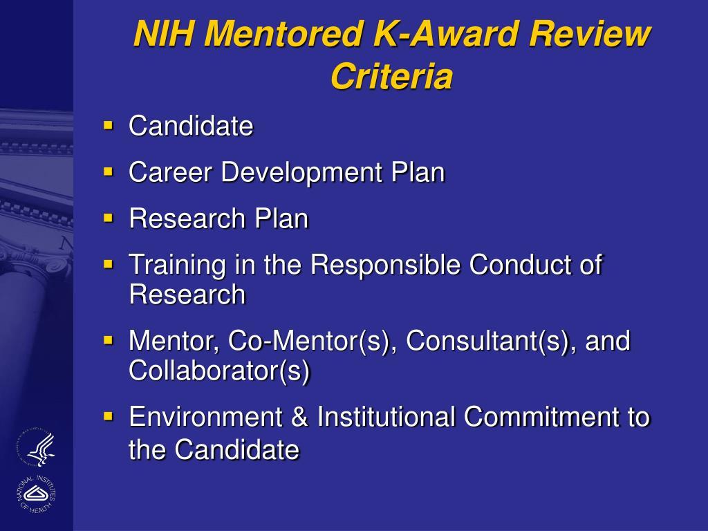 NIH Mentored K-Award Review Criteria