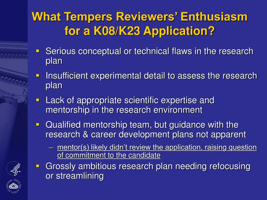 What Tempers Reviewers' Enthusiasm for a K08/K23 Application?
